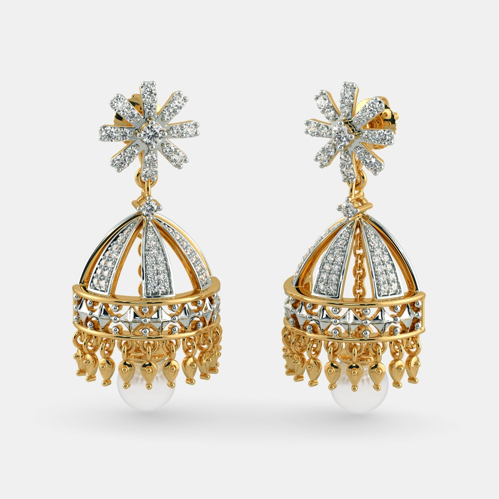 jewels diamond zev raj jhumka peacock jhumkas