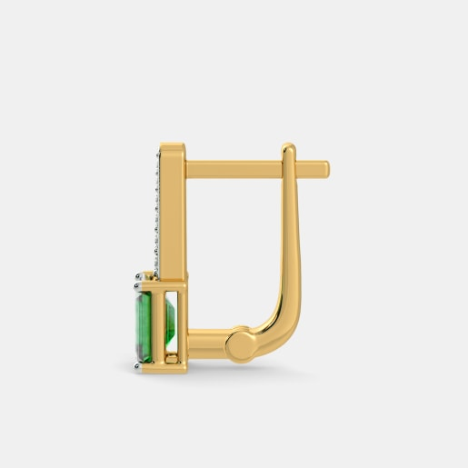 Emerald And Diamond Earring In Yellow Gold (2.82 Gram) With Diamonds (0.110 Ct)