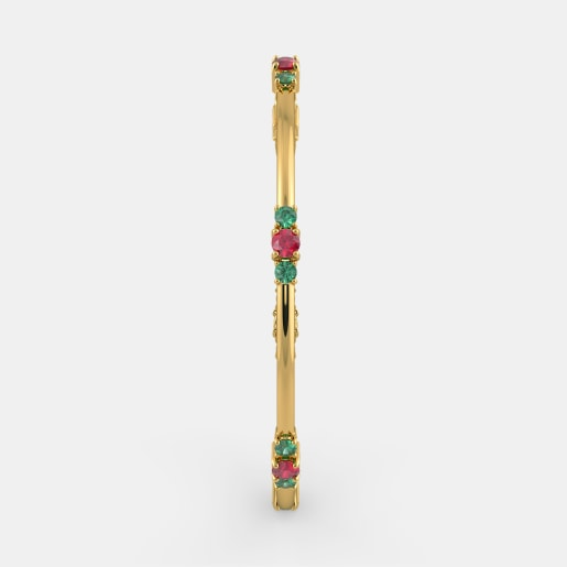 Ruby And Emerald Bangle In Yellow Gold (16.38 Gram)