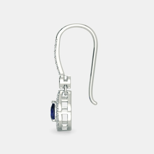 Diamond And Blue Sapphire Earring In White Gold (3.67 Gram) With Diamonds (0.384 Ct)