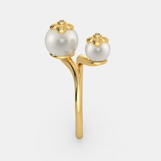 Diamond And White Pearl Ring In Yellow Gold (3.12 Gram) With Diamonds (0.016 Ct)