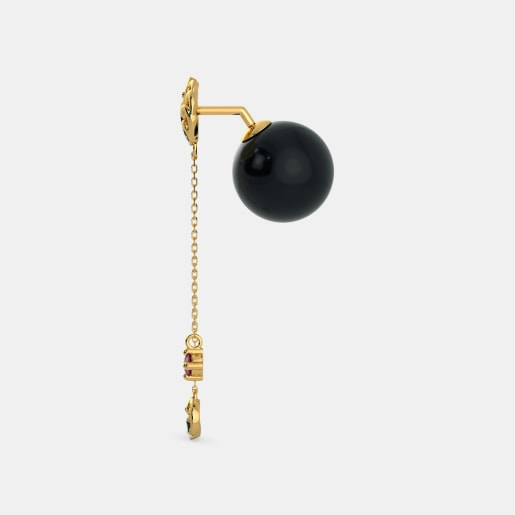 Diamond , Ruby And Black Onyx Earring In Yellow Gold (4.22 Gram) With Diamonds (0.116 Ct)
