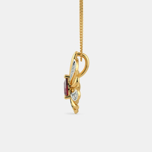 Diamond And Ruby Pendant In Yellow Gold (1.65 Gram)
