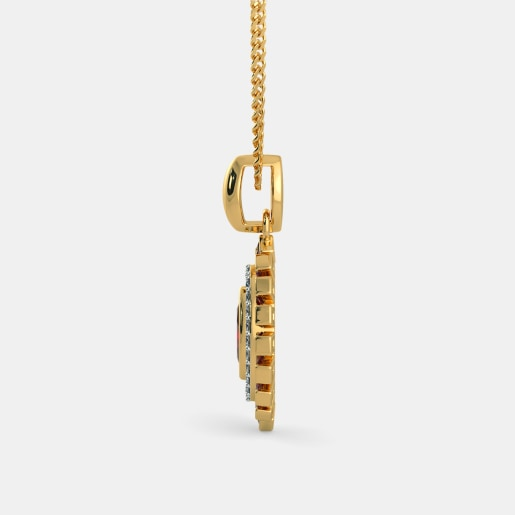 Diamond And Ruby Pendant In Yellow Gold (2.88 Gram) With Diamonds (0.182 Ct)