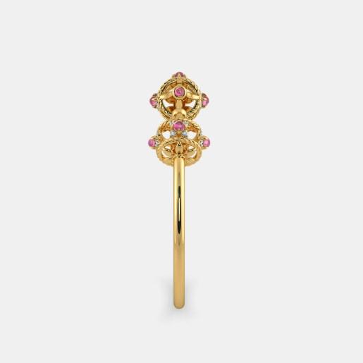 Diamond And Pink Tourmaline Bangle In Yellow Gold (11.22 Gram) With Diamonds (0.144 Ct)