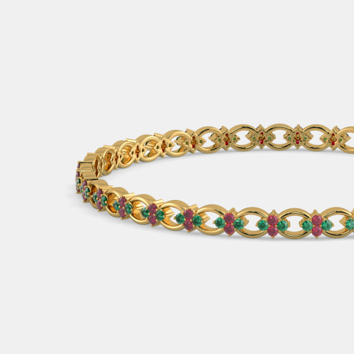 gold bangle emerald zevg bangles