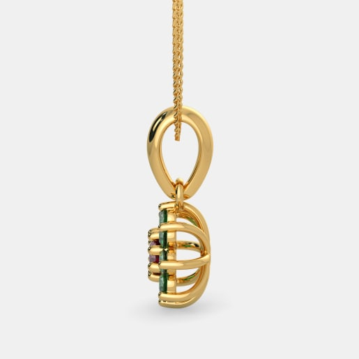 Ruby And Emerald Pendant In Yellow Gold (1.06 Gram)
