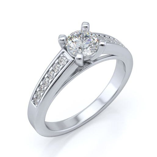 Diamond PreSet Solitaire Ring In White Gold (4.5 Gram) With Diamonds (0.136 Ct) And Solitaire (1.00 Ct)
