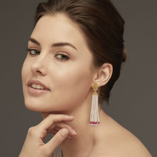 Ruby And Tassel Earring In Yellow Gold (8.62 Gram)