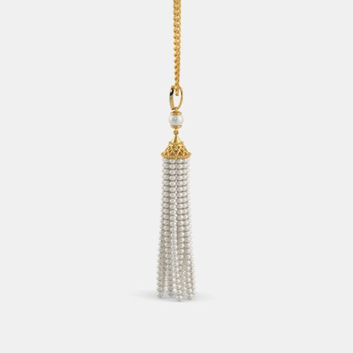 Diamond , White Pearl And Tassel Pendant In Yellow Gold (3.6 Gram)